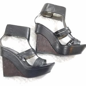 Vic Matie Italian Leather Platform Wedge Sandal 37